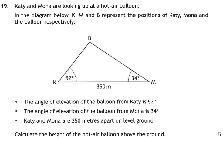 2019 National 5 maths Calculator question 19.
