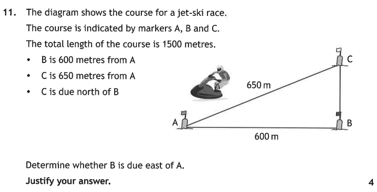 2019 National 5 maths Calculator question 11.